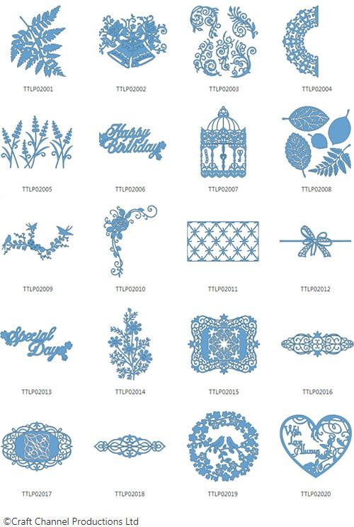 Die enthaltenen Designs der Tattered Lace Pattern Collection 2.