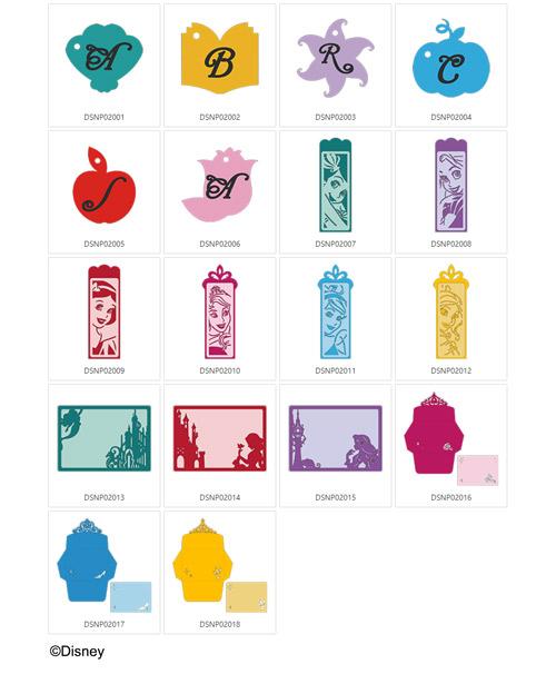 Die enthaltenen Disney Prinzessinnen Designs.