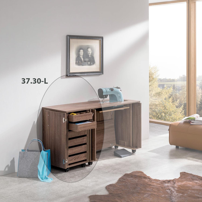 Die kleine Arbeitsplatzkombination Mailand besteht aus dem RMF Schubladen-Container und einem Nähmöbel aus der BASE.