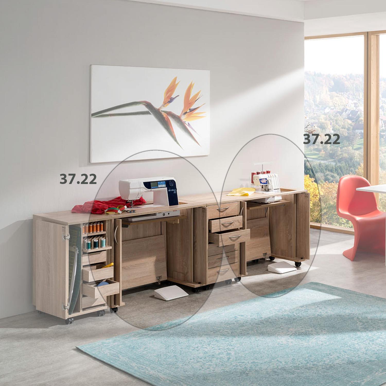 Die Kombination Paris besteht aus zwei Nähmöbeln und zwei Rollcontainer.
