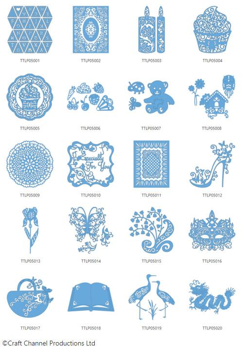 Die enthaltenen Designs der Tattered Lace Pattern Collection 5.