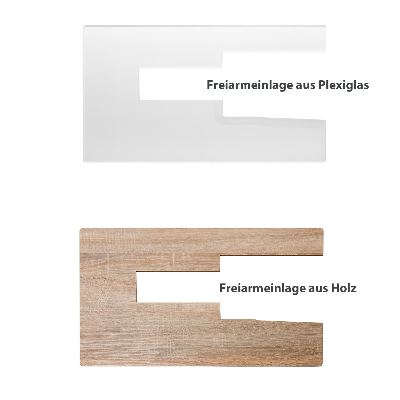 Die optional erhältlichen Freiarmeinlagen aus Plexiglas oder Holz dienen zur Abdeckung der freien Fläche neben der Maschine.