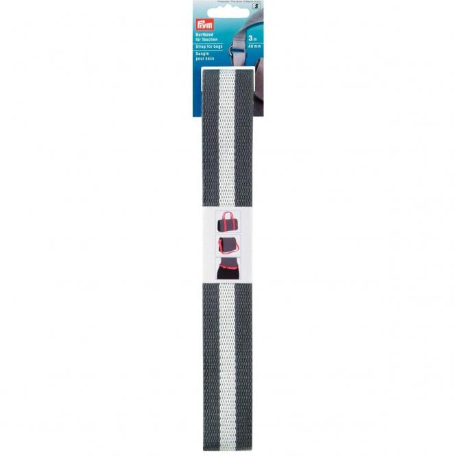 Prym Gurtband 40mm grau-weiß