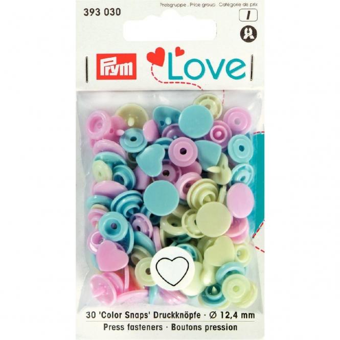 Prym Love Color Snaps Herz rosa/grün/hellblau