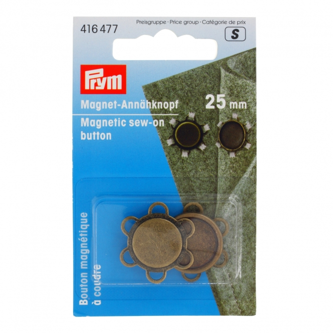 Prym Magnet-Annähknopf 25mm altmessing