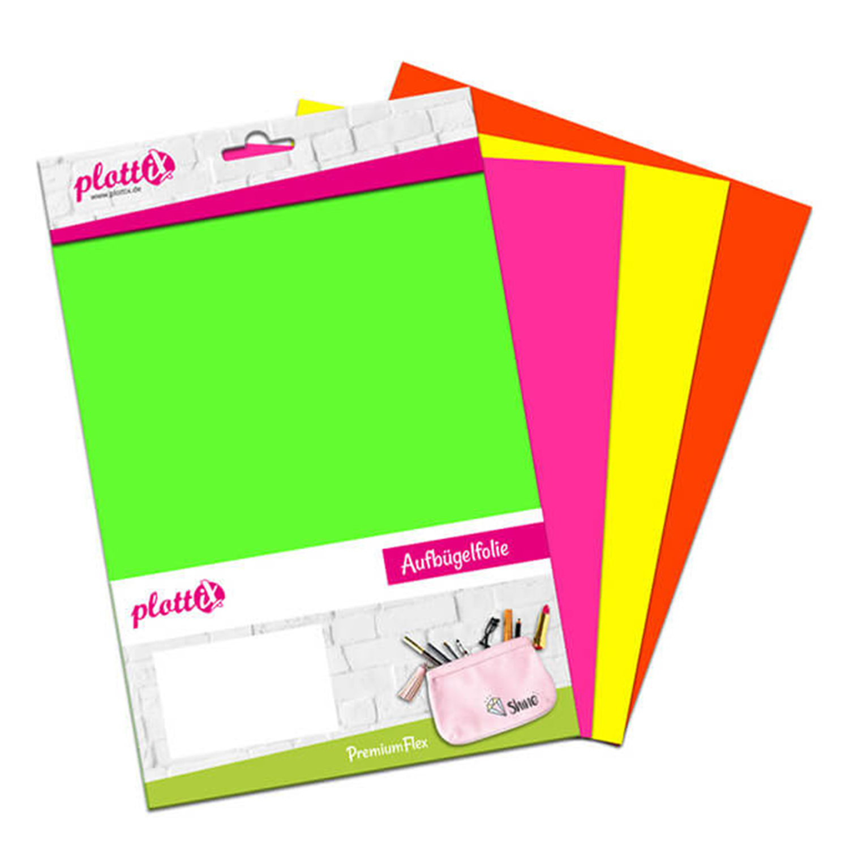 PLOTTIX PremiumFlex Neon 30 cm x 30 cm Bundle mit 4 Farben