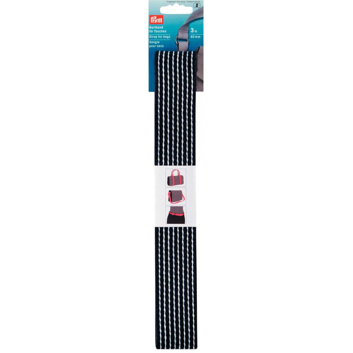 PRYM Gurtband 40mm blau-weiß gestreift