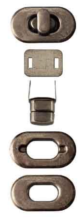 PRYM Drehverschluss für Taschen altsilber