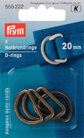 PRYM D-Ring 25mm altmessing 4 Stück